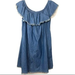 Mossimo Blue Denim Chambray Off Shoulder Dress LG